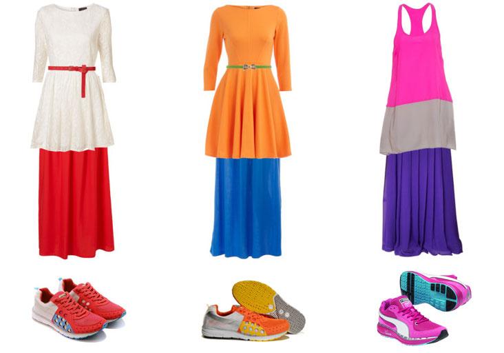 Тренд осени 2011 - Яркие кроссовки и юбки Макси