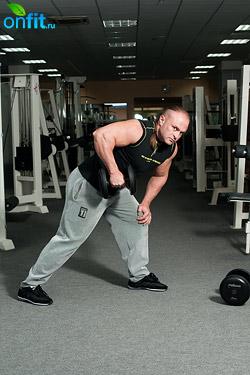 Комплекс упражнений с гантелями, поочередное разгибание рук на трицепс