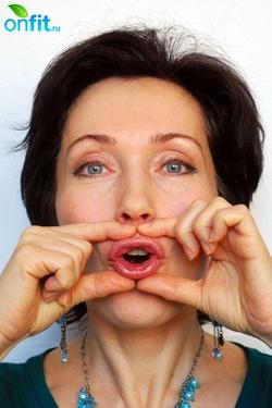 Фитнес для лица. Упражнение 8. Стираем морщинки на верхней губе