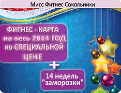 Фитнес-карта на весь 2014 год по специальной цене + 14 недель «заморозки» в клубе «Мисс Фитнес» Сокольники!
