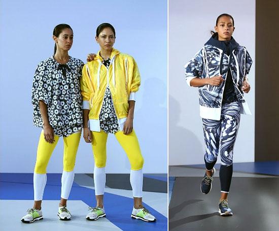 В коллекции adidas by Stella McCartney встречаются интересные решения выкройки моделей одежды: рукава немного ассиметричны, из-под нижнего края куртки виден вшивной карман или шорты нарочито надеты на леггинсы одного с ними цвета.