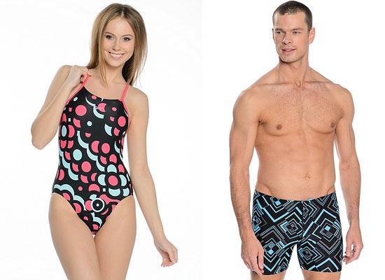 Водные виды фитнеса тоже не останутся без буйства красок. Разнообразные яркие рисунки и узоры есть и в коллекциях мужских и женских пляжных нарядов от Speedo.