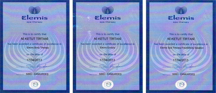 Тайский массаж и обертывание  — сертификаты образования Ni Ketut Tirtani  в клубе «О2»