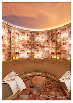 Сухой пар в бане из розовой гималайской соли контрастно обнимает теплом и негой. Солевыми плитами выложены внутренние стены бани.