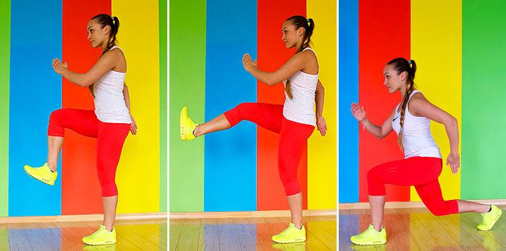 Упражнение 1: выпад с подъемом колена к груди